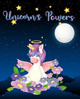 Bandiera in bianco con unicorno carino sullo sfondo del cielo notturno