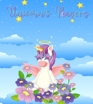 Blank banner with cute unicorn in the pastel sky background
