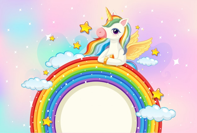 Blank banner with cute unicorn on rainbow in the pastel sky background