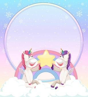 La bandiera in bianco con l'unicorno sveglio si siede sulla nuvola