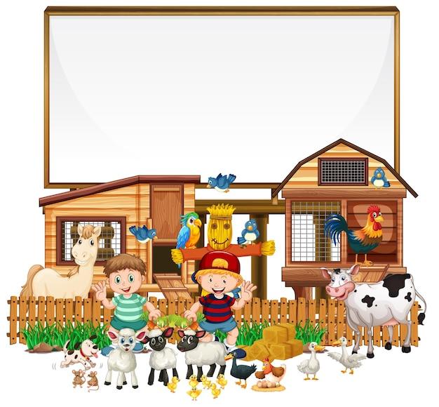 Banner in bianco con oggetti di fattoria su sfondo bianco