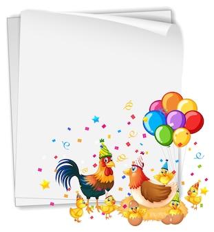パーティーをテーマに多くの鶏と白紙の横断幕