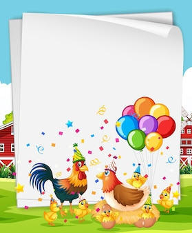 Blank banner with many chickens in party theme