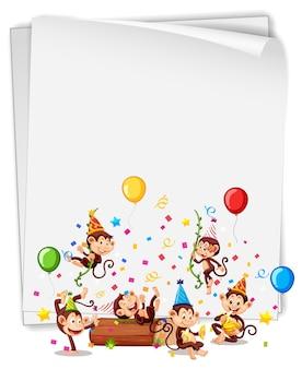 Пустой баннер с множеством обезьян в теме вечеринки