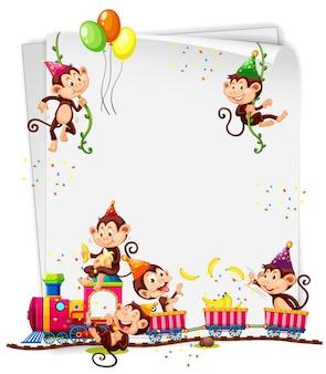 Пустой баннер с множеством обезьян в тематике вечеринки