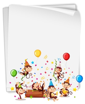 Blank banner with many monkeys in party theme