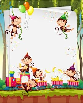 Banner in bianco con molte scimmie in tema di festa