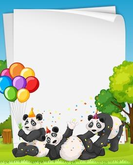 Banner in bianco con molti panda in tema di festa
