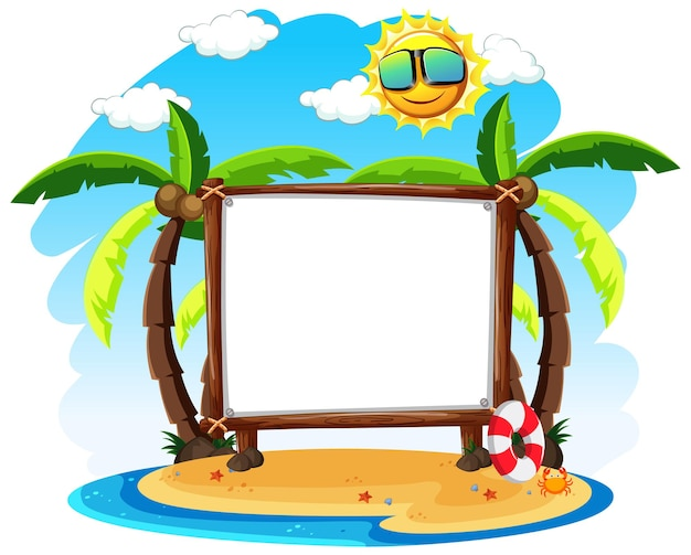 Blank banner with summer theme