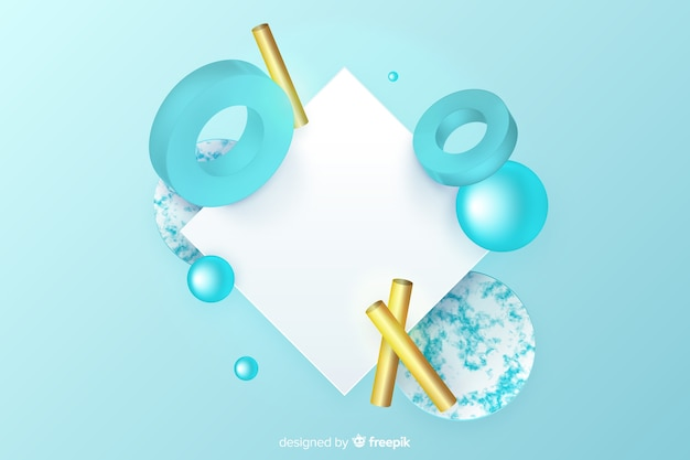 Blank banner with tridimensional geometric shapes