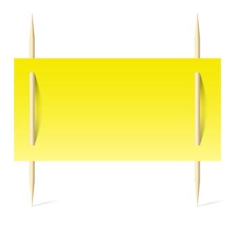 つまようじに黄色い紙と空白のバナー。白い背景のイラスト