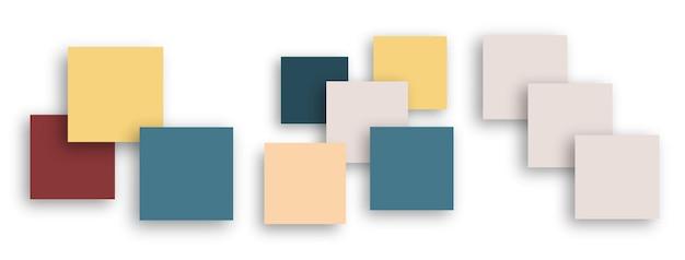 빈 배너 구성입니다. 추상 화려한 배경, 현대 장식 포스터 템플릿입니다. 비즈니스 프레젠테이션을 위한 빈 사각형 공간, 카드 모형 벡터 세트. 포스터 카드, 모양 그림