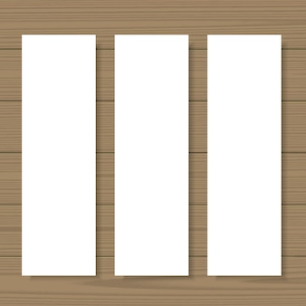 Blank banners mock up set on wooden background.