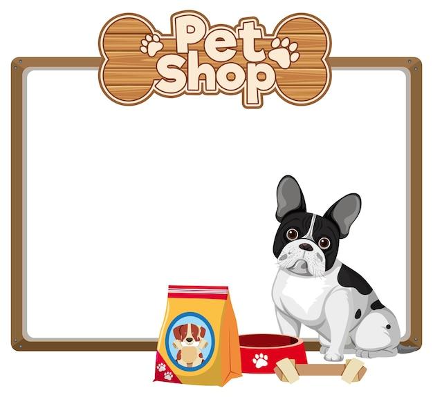 귀여운 강아지와 애완 동물 상점 로고와 함께 빈 배너
