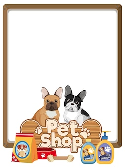Blank banners with cute dog and pet shop logo isolated on white background