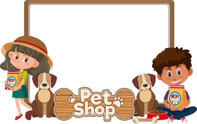 아이와 귀여운 강아지와 애완 동물 가게 로고와 함께 빈 배너