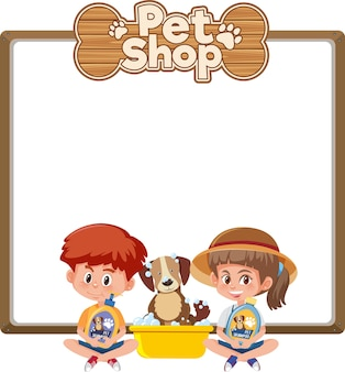 Blank banners with kid and cute dog and pet shop logo isolated on white