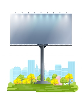 Blank billboard on cartoon city.