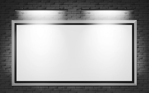 Blank billboard display on brick wall