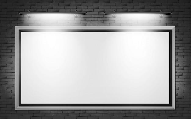 レンガの壁にブランクの看板ディスプレイ