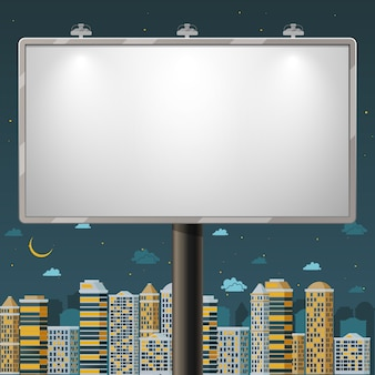 Blank billboard at night time. advertise commercial, outdoor board poster, vector illustration