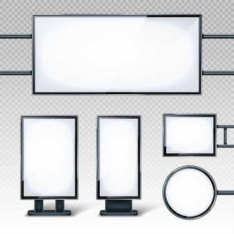 Blank billboards displays, empty white lcd screens or stands for advertising. horizontal, vertical, round and rectangular blank banners isolated on transparent background, realistic 3d set