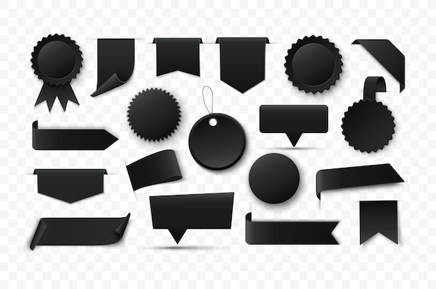 Blank black banners and labels vector tags and ribbons