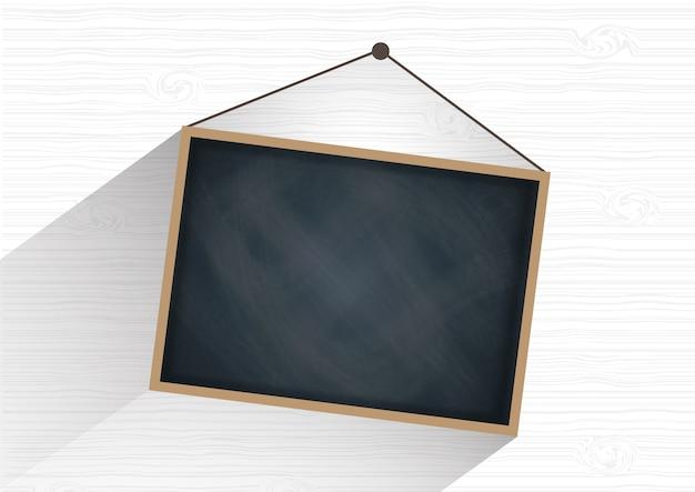Blank black board on vintage wood wall vector