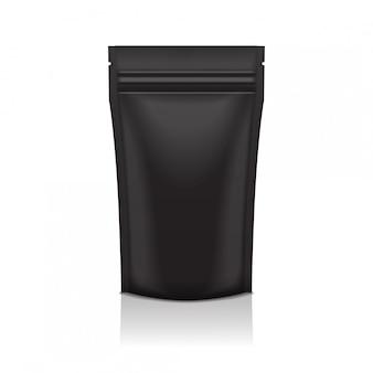 空白の黒い箔食品または化粧品doyパックポーチ小袋バッグジッパーで包装。