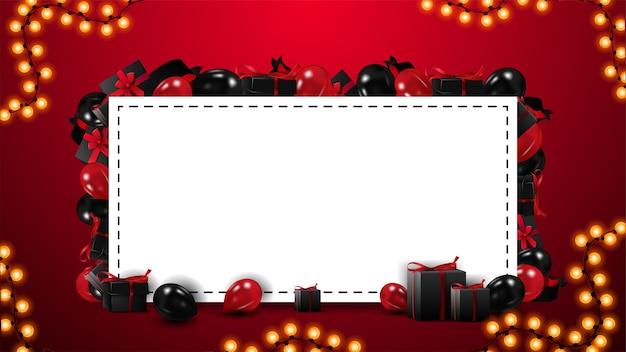 プレゼントや風船で飾られたテキストのホワイトペーパーシートを持つ空白のブラックフライデーテンプレート