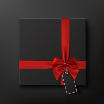 Blank, black gift box with red ribbon and price tag. black friday sale conceptual background.  illustration.