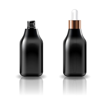 Blank black square cosmetic bottle with white dropper lid.