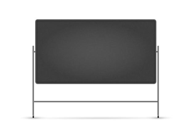 空白の黒板。スタンドに空の学校チョークブラックボード。コピースペースを持つ空白の黒板フレーム。教育と研究のコンセプト
