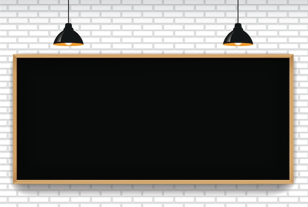 Blank blackboard in white brick wall background with 2 hanging light