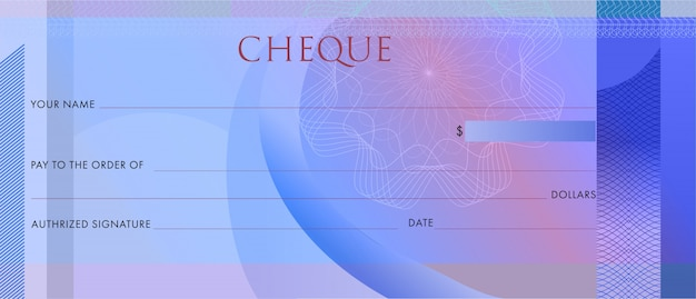 Blank blue business bank cheque with guilloche