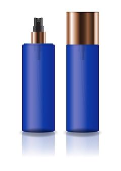 プレススプレーヘッドを備えた空の青色の化粧品シリンダーボトル。