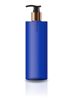 Пустая синяя бутылка с косметическим цилиндром с головкой насоса.