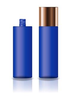空の青色の化粧品のシリンダーボトル。