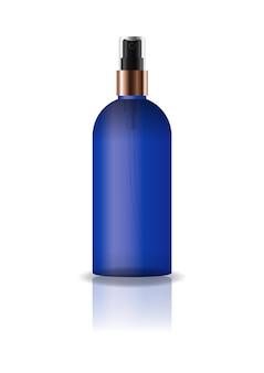 空の青色の化粧品ラウンドボトル、プレススプレーヘッド付き。