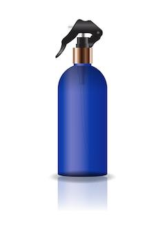 空白の青い化粧品ラウンドボトルスプレーヘッド。