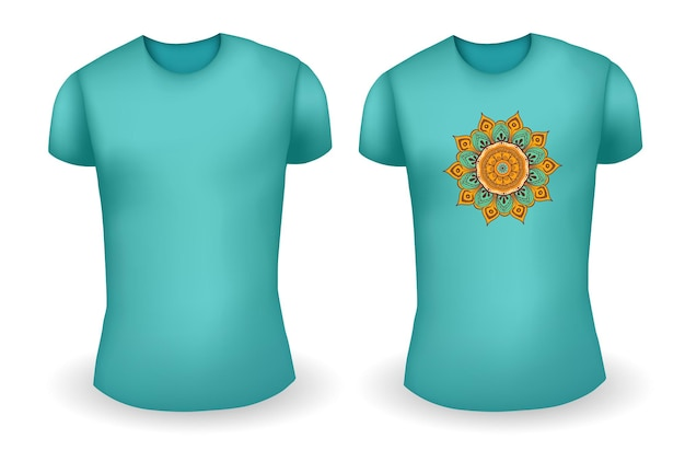 Blank blue male t shirt realistic template and blue t shirt with mandala vector