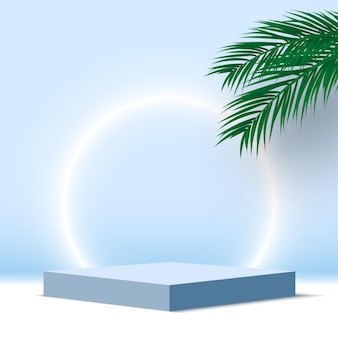 Blank blue podium with palm leaves and glowing ring pedestal cosmetic products display platform