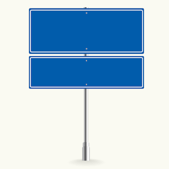 Blank blue road sign or empty traffic vector illustration