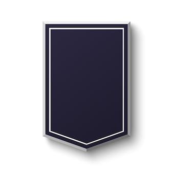 白い背景の空白の青い盾。シンプルな空のバナー。図。