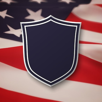 Blank, blue shield on top of american flag. simple, empty banner.  illustration.