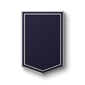Blank blue shield  on white background. simple, empty banner.  illustration.