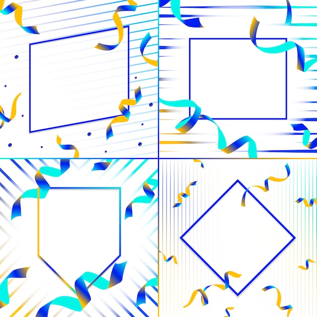 Blank blue and yellow emblem with confetti vector set