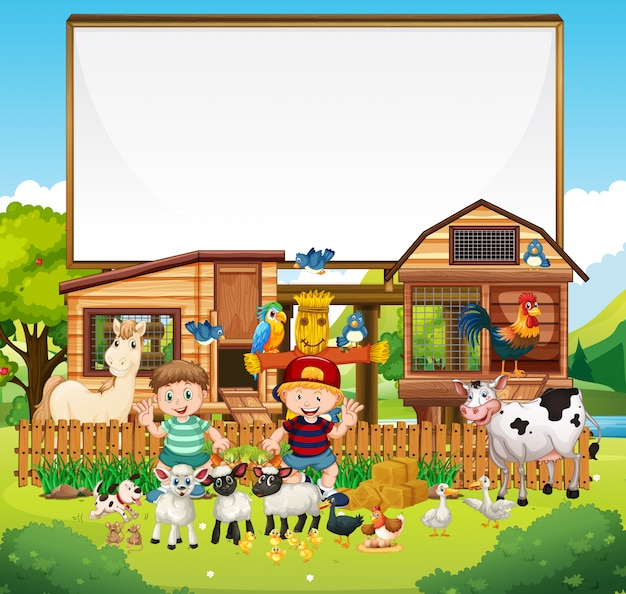 Blank board in organic farm with animal farm set isolated