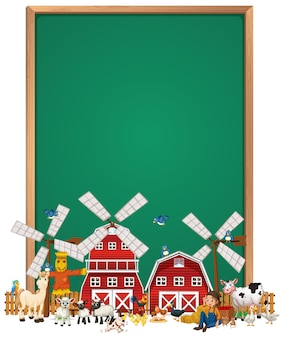 Blank board sign with animal farm set isolated