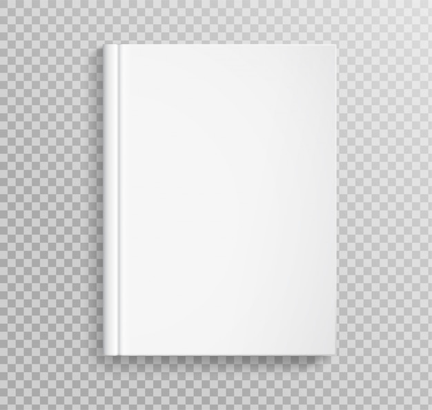 Blank book cover, placed on transparent
